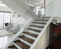 residential glass on stairs